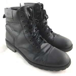 Montgomery boots ankle black leather 8 eye lace up
